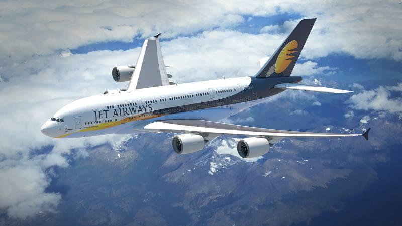 Un avión A380 de la aerolínea Jet Airways