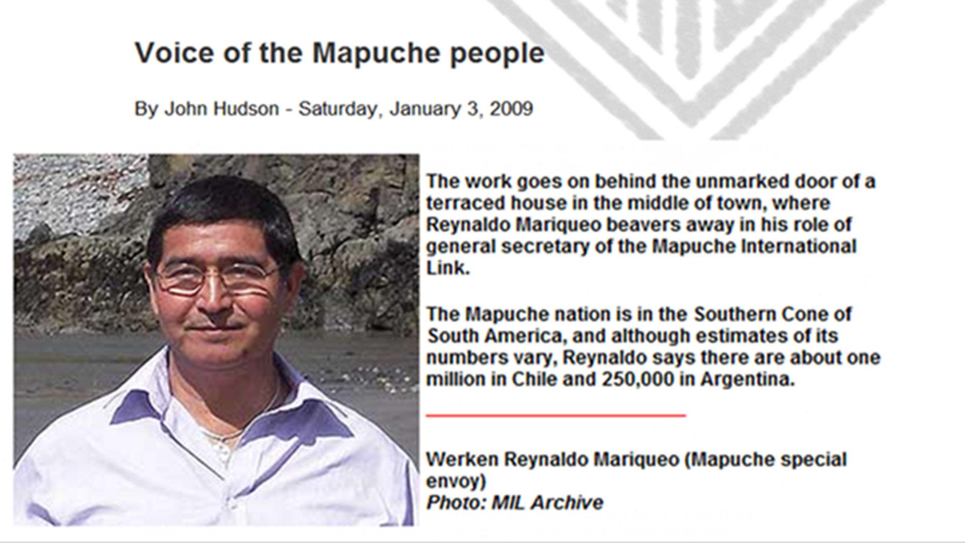 Reynaldo Mariqueo, vocero del pueblo mapuche, reside en Bristol, Inglaterra