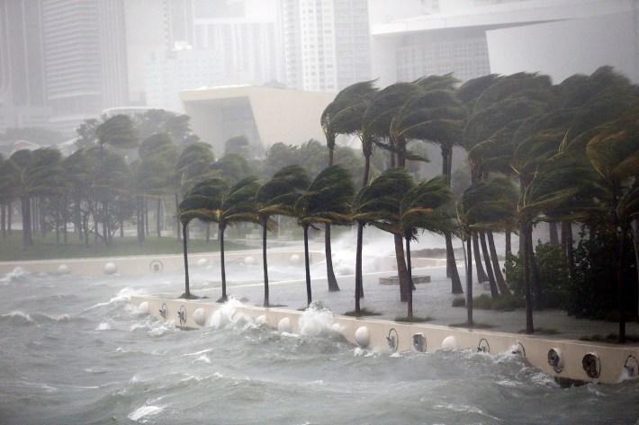 Las olas en Key Biscayne en el momento que pasó el huracán Irma por Miami (AP)