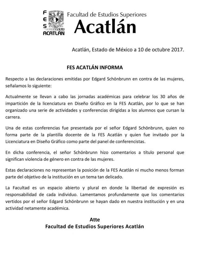 El comunicado de la Facultad (@FES_ACATLAN)