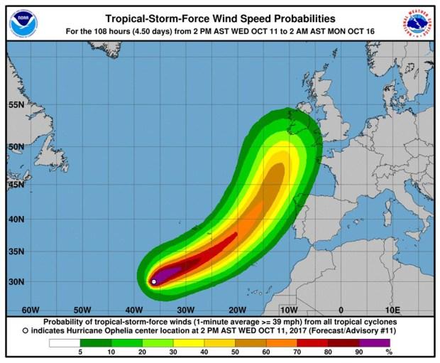 Ofelia se transformó en el décimo huracán de la actual temporada en el Atlántico