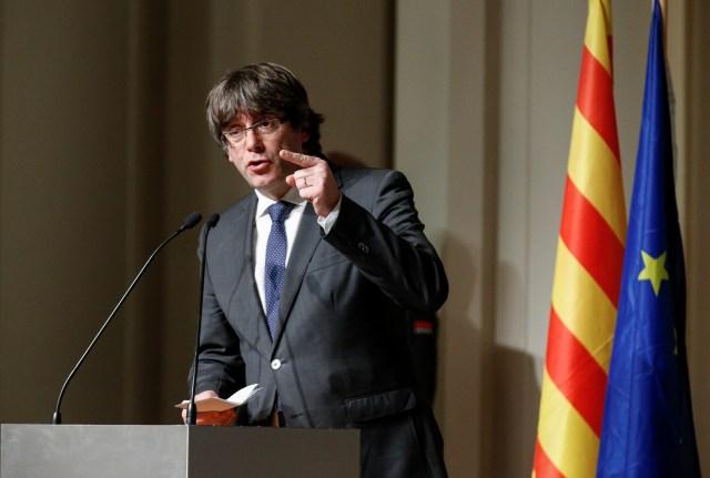 Carles Puigdemont durante un discurso en Bruselas (Reuters)