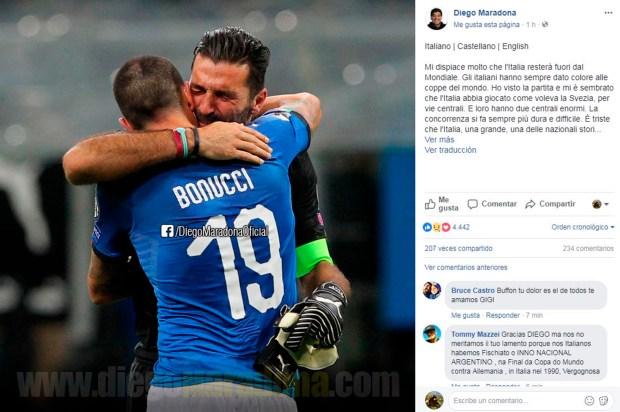 Maradona emitió el mensaje en italiano, castellano e inglés