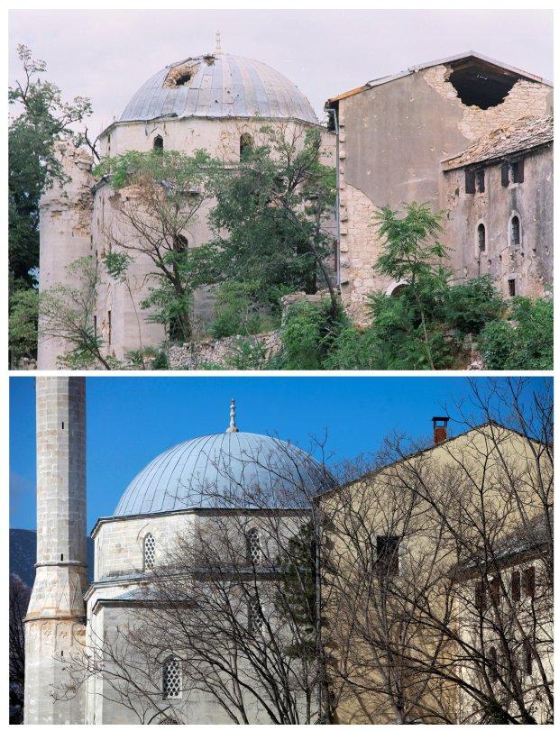 La mezquita de Mehmed Pasina fue una de las atacadas por los serbios y luego los croatas. Fue reconstruida en la posguerra (Reuters)