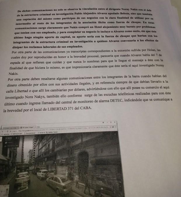 Parte de la causa y el seguimiento en uno de los locales de Nakis
