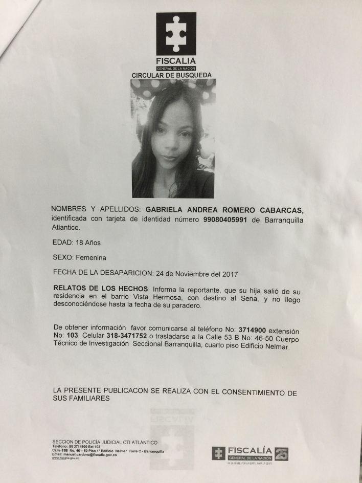 El reporte de desaparición de la estudiante universitaria Gabriela Andrea Romero Cabarcas, a quien Rúa asesinó y violó.