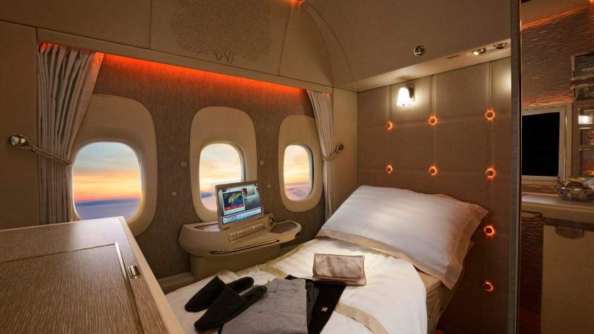 La lujosa primera clase del A380 de Emirates