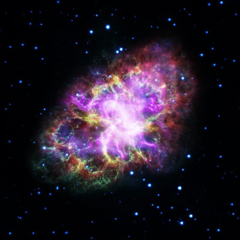 Foto de la Nebulosa del Cangrejo, realizada juntando los datos de cinco telescopios: Very Large Array, Spitzer Space Telescope, Hubble Space Telescope, XMM-Newton Observatory y Chandra X-ray Observatory. La Nebulosa del Cangrejo se encuentra a 6.500 años luz de la Tierra y es visible en la constelación de Taurus (NASA, ESA, NRAO/AUI/NSF y G. Dubner, Universidad de Buenos Aires)