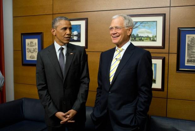 El presidente Barack Obama visita a David Letterman en su programa el 4 de mayo 2015