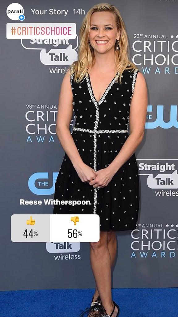 Reese Witherspoon estaba nominada a 'Mejor Actriz de Miniserie' por su papel en 'Big Little Lies'. La actriz volvió a apostar por el negro con un diseño de la firma Prada, pero no gustó tanto.
