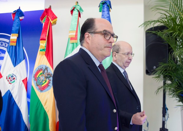 El representante de la oposiciónJulio Borges junto al ministro de relaciones exteriores dominicano, Vicente Díaz. (AFP PHOTO / Erika SANTELICES)