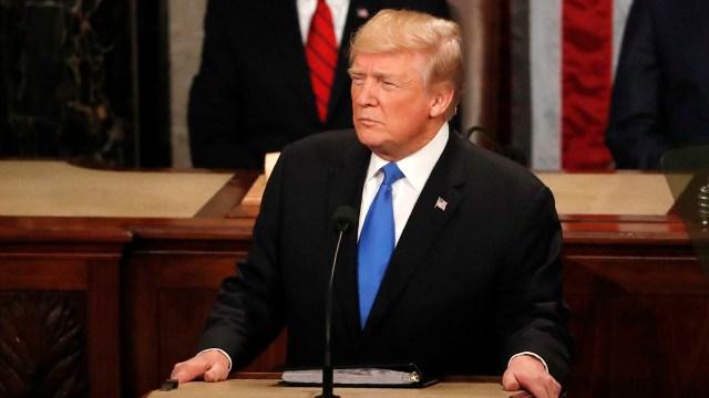 Donald Trump, en un discurso ante el Congreso (REUTERS)