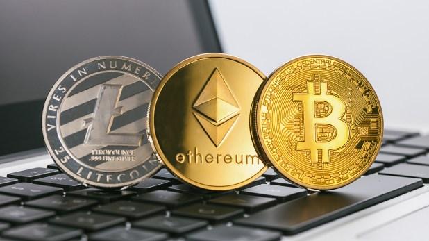 Litecoin, Ethereum y Bitcoin, tres de las principales criptomonedas (Getty)