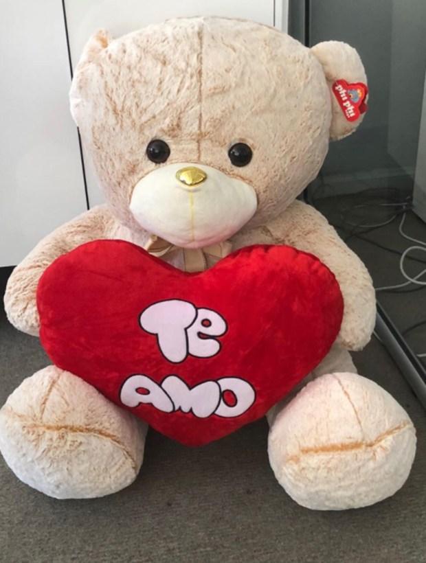 """Por el Día de los Enamorados, Doman le regaló a su pareja una oso de peluche gigante al que bautizó """"Valentín"""""""