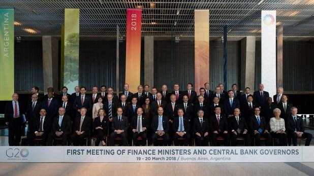 Los ministros de Finanzas y presidentes de Bancos Centrales del G20, reunidos en Buenos Aires , en marzo pasado (Adrián Escandar)