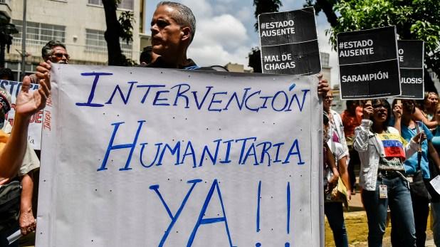 Los venezolanos piden la intervención humanitaria (AFP)