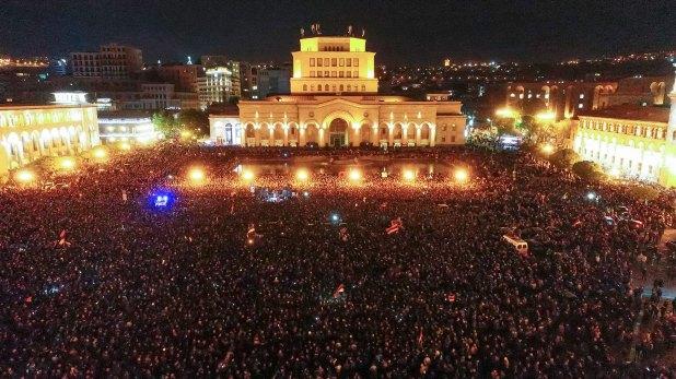 Imagen aérea de las protestas