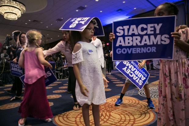 La movilización de los votantes fue crucial en la campaña deStacey Abrams. (Jessica McGowan/Getty Images/AFP)