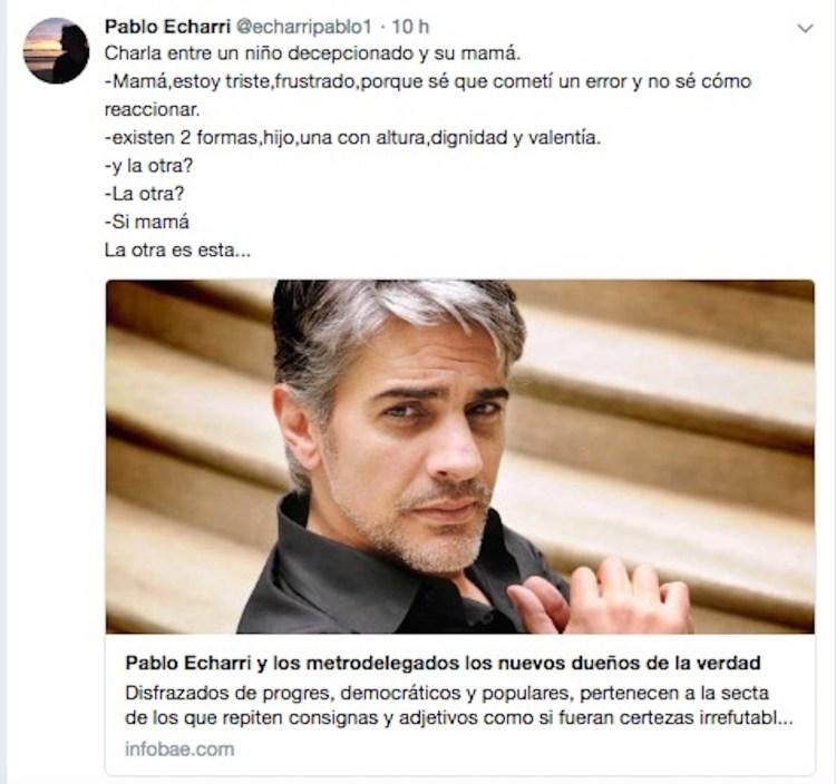 El tuit de Pablo Echarri dirigido a Majul.