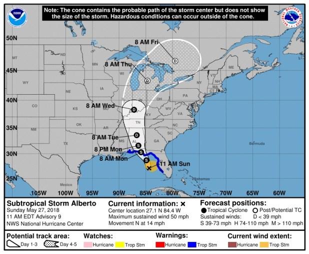El reporte de las 11 (15 GMT) del CNH, con el rumbo pronosticado