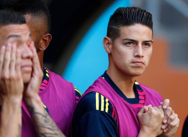 El técnico argentino José Pekerman dejó en el banco de suplentes a James Rodríguez, quien no está al 100% desde lo físico (AP)