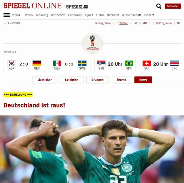 """¡Alemania está afuera!"", dice Der Spiegel"