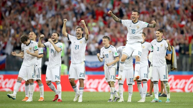 Soccer Football – World Cup – Round of 16 – Spain vs Russia – Luzhniki Stadium, Moscow, Russia – July 1, 2018  Russia players celebrate during the penalty shootout  REUTERS/Carl Recine