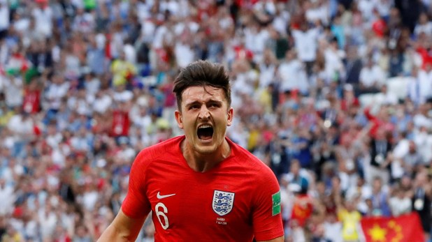 Soccer Football – World Cup – Quarter Final – Sweden vs England – Samara Arena, Samara, Russia – July 7, 2018  England's Harry Maguire celebrates scoring their first goal  REUTERS/Carlos Garcia Rawlins