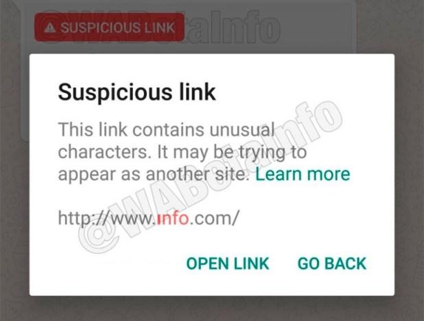 Si, a pesar de la primera alerta, el usuario decide abrir el link, entonces recibirá una segunda alerta (WABetaInfo)