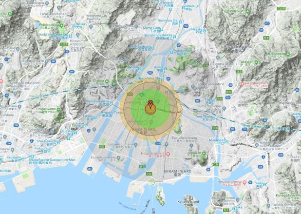 La destrucción edilicia fue casi total en un radio de 1,2 kilómetros a la redonda, mientras que la muerte por calor, radiación u onda de choque resultó casi segura hasta los 2 kilómetros