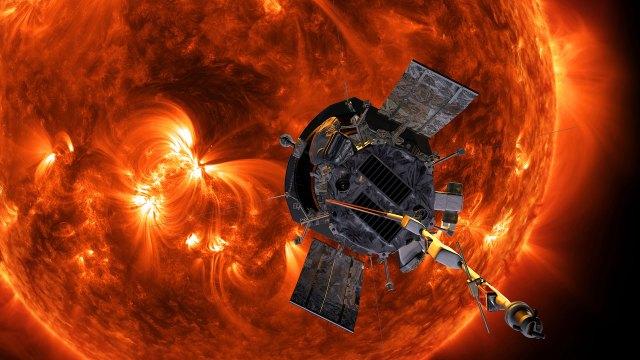 Ilustración digital de la sonda parker cerca al Sol. (AP)