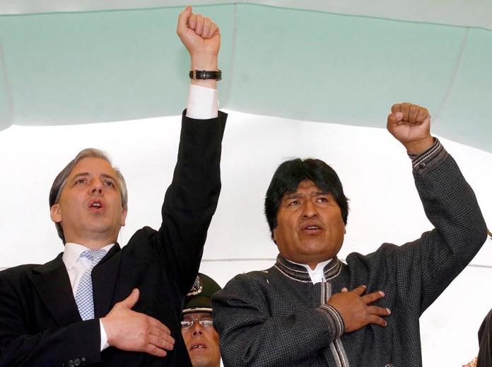 El mandatario boliviano Evo Morales y su vicepresidente, Álvaro García Linera