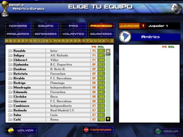 El listado de los mejores de América: Ronaldo y detrás Suligoy, por encima de Chilavert, Denilson y Batistuta, entre otros