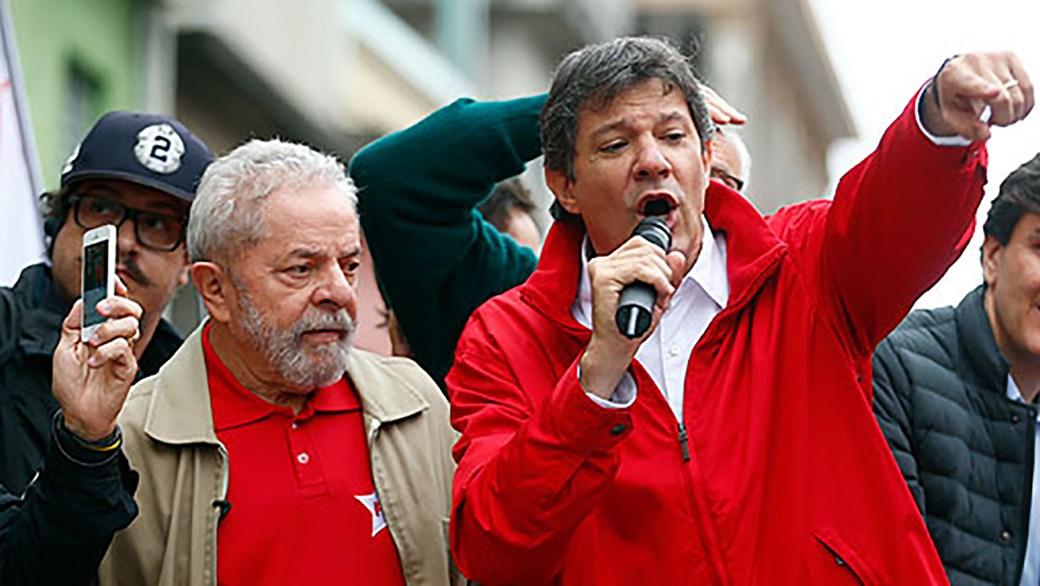 Lula da Silva junto a Fernando Haddad