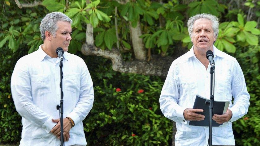 Almagro visitó la frontera entre Colombia y Venezuela, donde se reunió con el presidente Iván Duque (EFE)