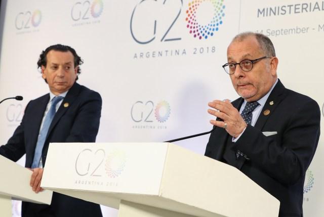 Jorge Faurie y Dante Sica, en la conferencia final tras la cumbre de Comercio del G20
