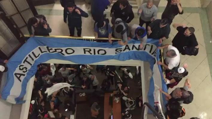 Los trabajadores del Astillero Río Santiago dentro del ministerio
