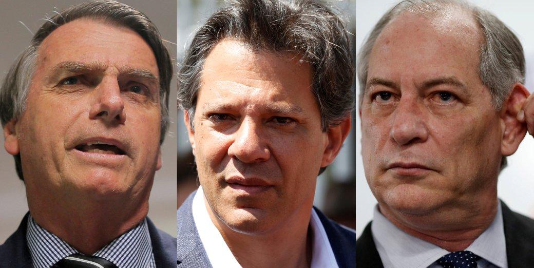 Los candidatos Jair Bolsonaro, Fernando Haddad y Ciro Gomes (REUTERS/Adriano Machado/Rodolfo Buhrer/Adriano Machado/archivo)