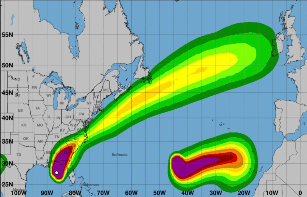 Esta es la proyección de la trayectoria de los vientos del huracán en la costa noroeste de Florida (Fuente: NOAA)