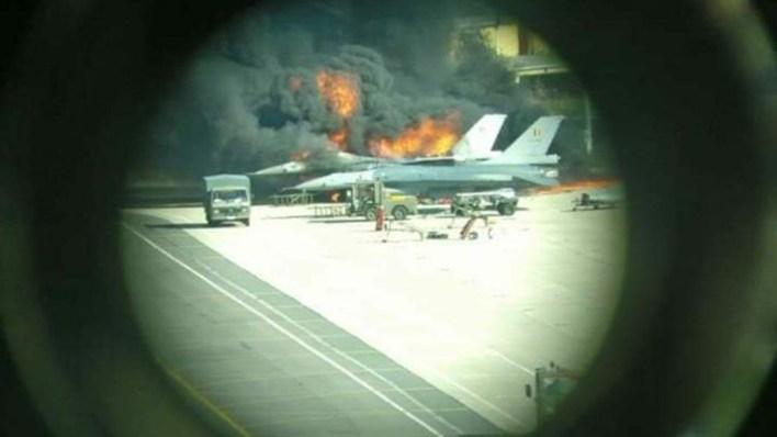 Un segundo F-16 fue también dañado (Twitter: @ebcrew00)
