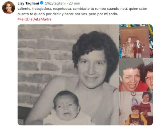 Un recuerdo que compartió Lizy Tagliani de su madre en las redes sociales