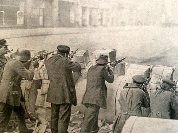 Una barricada en una ciudad alemana durante la guerra civil (Illustrirte Zeitung)