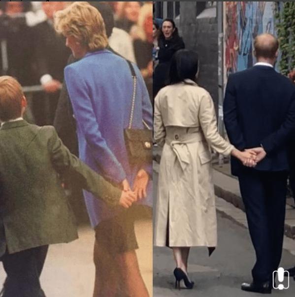 El príncipe Harry toma de la mano a su esposa igual que su madre lo hacía con él (@amandalynnbutler)