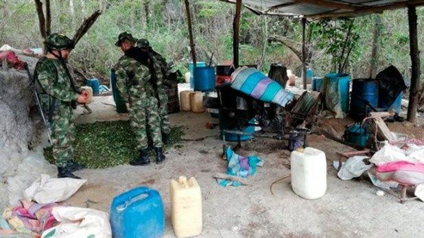 Un laboratorio de base de coca desmantelado en Patía esta semana.