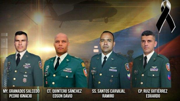 En el accidente del helicóptero que transportaba la droga y las armas incautadas fallecieron cuatro militares.