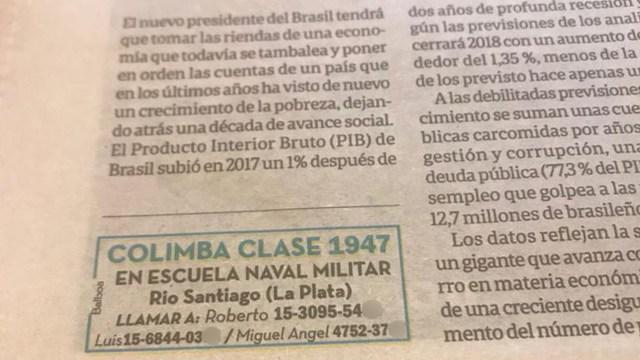 El anuncio en el diario Clarín con los teléfonos de los organizadores del encuentro. Por ahora son diez los ex reclutas que asistirán: esperan hallar al menos a otros cinco