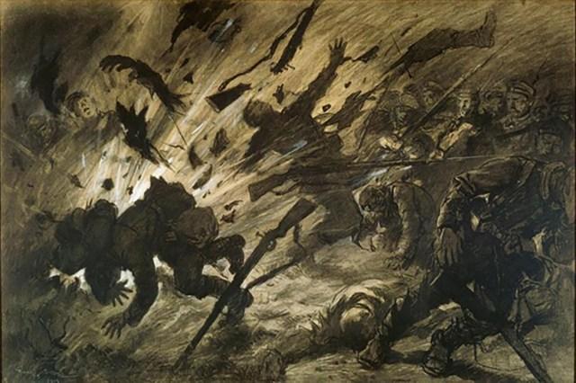 Efecto de un obús en la noche, abril 1915, Georges Scott, 1915, París, Museo del Ejército