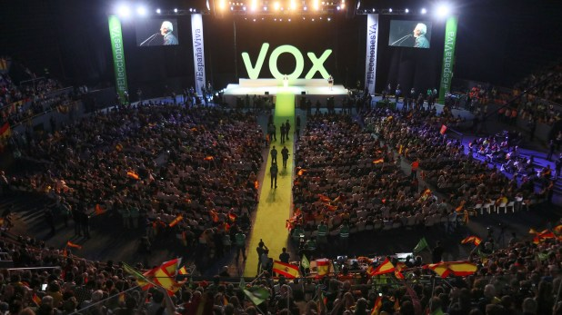 Un masivo acto de Vox en el Palacio Vistalegre de Madrid, en octubre de 2018 (Reuters)