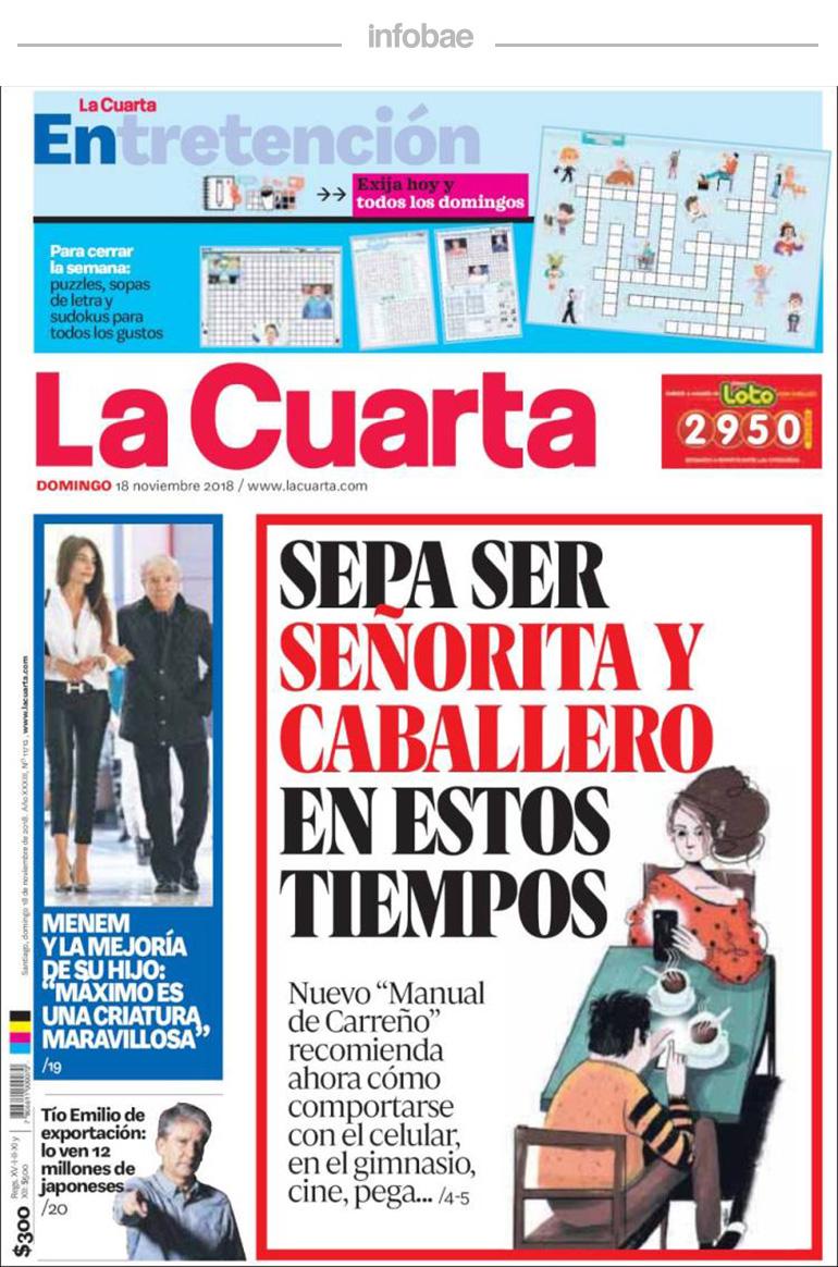 La Cuarta, Chile, 19 de noviembre de 2018 - Noticias de Tabossi