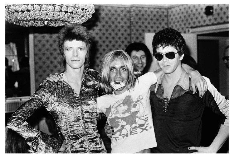 Foto histórica de Mick Rock: David Bowie, Iggy Pop y Lou Reed